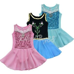 Kids Girls Gymnastic Leotard Ballet Dance Tutu Dress Unitards Dancewear Costume