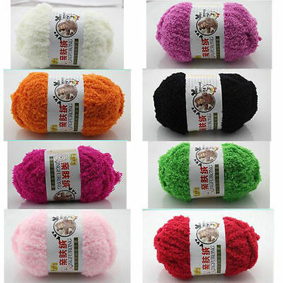 50g /ball Soft Plush Puff Wool Worsted Baby Yarn Hand-knitted for Shawl Present