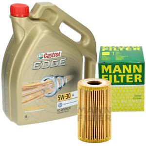 Inspektionskit-5-Liter-Castrol-Edge-5W-30-Ol-Mann-Olfilter-HU7008Z-fuer-AUDI-VW