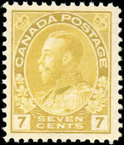 Mint-NH-Canada-7c-1916-F-VF-Scott-113-King-George-V-Admiral-Issue-Stamp
