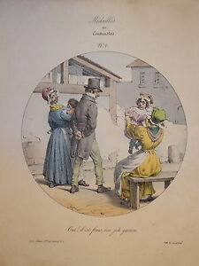 RARE-Litho-CARICATURE-PIGAL-MEDAILLES-ou-CONTRASTES-RESTAURATION-ENFANTS-1829