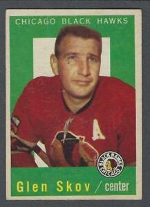 1959-60-Topps-Chicago-Blackhawks-Hockey-Card-12-Glen-Skov