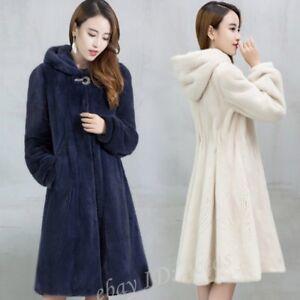 88f2515777f Womens Hooded Faux Mink Fur Long Jacket Fur Coat Thick Winter Warm ...
