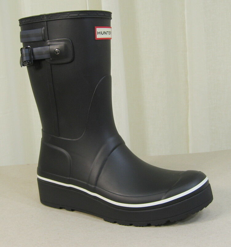 NEW HUNTER Original Short Platform Wedge Rubber Black Rain Boots US 10 Black Rubber w/Stripe 62be70