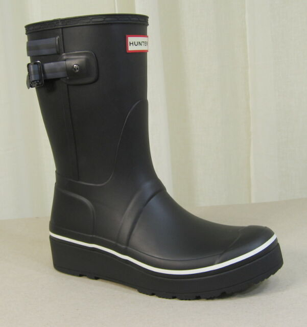 ce5fb01a511 Hunter Original Short Platform Wedge Rubber Rain BOOTS US 10 Black W/stripe