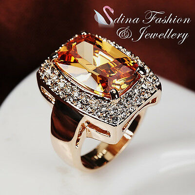 18K Rose Gold Plated Made With Swarovski Crystal Luxury Large Rectangle Cut Ring