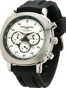 Jorg Gray 3500 Mens Chronograph Silver-Tone Layered Dial WATCH RubberJorg $450