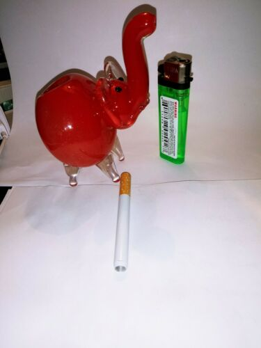 """4.5/"""" Collectible TOBACCO Elephant Glass Hand Pipe w// Roch hold and lighter bonus"""