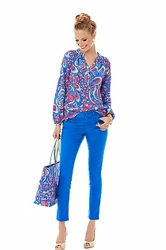 158.00 NWT LILLY PULITZER 4 WORTH SKINNY BREWSTER blueE PANTS