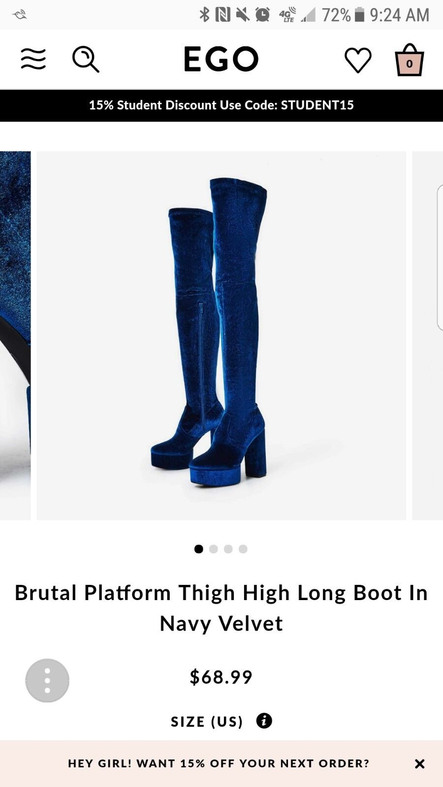 Ego Official Velvet over the knee Thigh High Boots