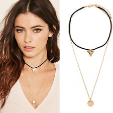 Women Girls Double Layer Black Cord Choker Necklace Gold Pendant Long Chain