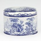 Antique vintage styl Porcelain Blue White european Edwardian antique trinket box