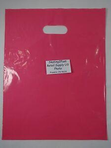 100-Qty-12-034-x-15-034-Pink-Glossy-Low-Density-Merchandise-Bag-Retail-Shopping-Bags