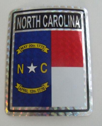 "North Carolina Flag Reflective Sticker 3/""x4/"" Inches Adhesive Car Bumper Decal"