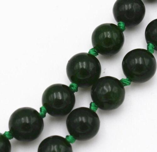 "Beautiful 6mm Natural Dark Green Emerald Gemstone Round Beads Necklace 18/"""