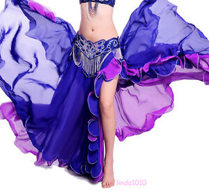 New-Belly-Dance-Costume-2-layers-with-one-slit-Skirt-9-colors