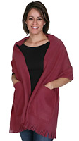 Kc Caps Soft Fleece Fringed Shawl Wrap Shoulder Winter Scarf With Pockets Wine