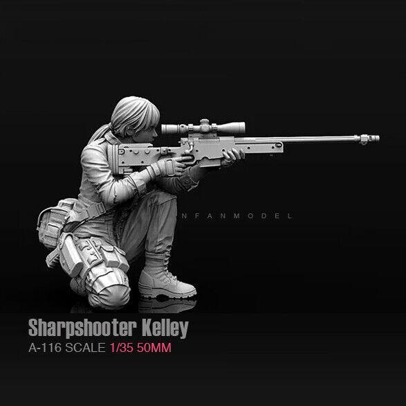 Unpainted 1//35 Sniper Beauty Girl Shooter Resin Figure Model Kit Unassembled GK