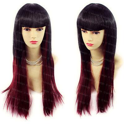 Beautyful Long Layered Black Red mix Straight Ladies Wigs Skin Top WIWIGS UK