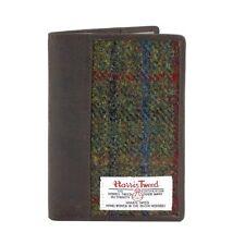 Harris Tweed Leather Passport Holder Green Check 25134