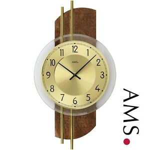 AMS-9413-quartz-Horloge-murale-en-cuir-synthetique-sur-le-mur-arriere-bois