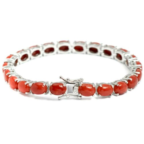 Details about  /925 Sterling Silver Oval Cabochon Natural Italian Coral Gemstone Tennis Bracelet