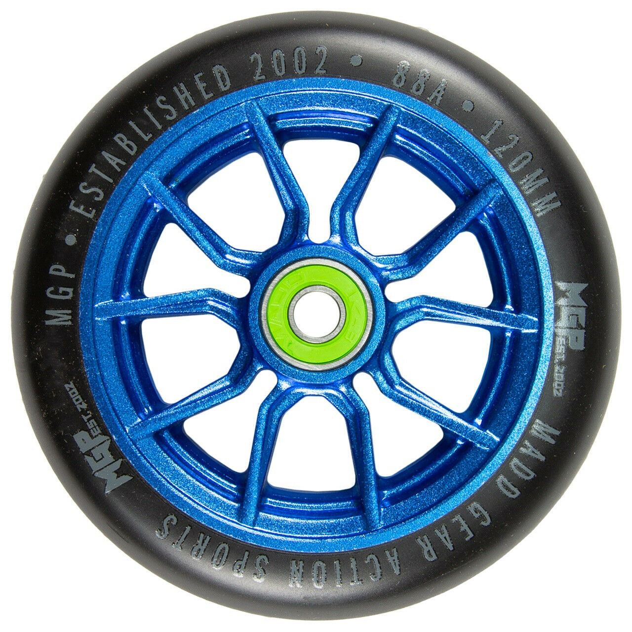 Madd MFX AR120 Syndicate 120mm Alloy Core Scooter Wheels (Pair) bluee