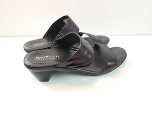 NAOT-Women-039-s-Sandals-Leather-Shoes-Mid-Wedge-Heel-Slide-Mule-Open-Toe-Size-41-10
