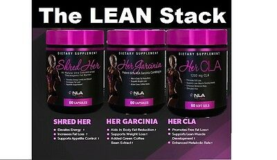 NLA For Her LEAN Stack - Garcinia, CLA, Shred Her - Save $ on the Fat Burn Stak