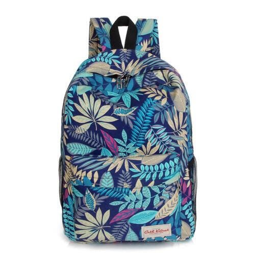 Womens Girls Canvas Backpack Rucksack Leaves Print School Travel Laptop Book Bag