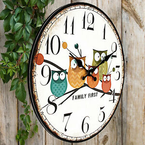 Large Wooden Owl Style Wall Clocks Large Shabby Chic