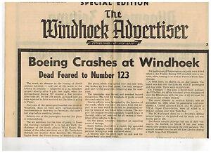 1969 Windhoek Advertiser SW Africa Newspaper Boeing South