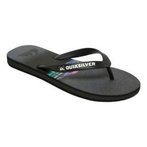 Quiksilver-NEW-Men-039-s-Molokai-Hold-Down-Flip-Flops-Black-Grey-black-BNWT