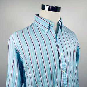 Polo-Ralph-Lauren-Mens-Large-Casual-Button-Down-Shirt-Blue-Pink-Striped-Cotton
