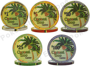 CERAMIC-POKER-CHIPS-sample-pack-COCONUT-TREE-CASINO-PROFESSIONAL-CLAY-FEEL