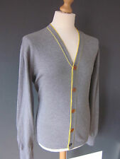 Paul Smith Cardigan (XL) Gris/Amarillo De Algodón Manga Larga Y Cuello Suéter ex