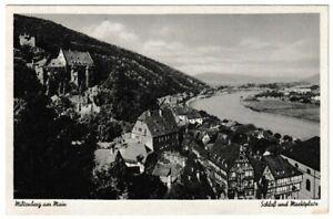 Ansichtskarte Miltenberg am Main - Blick auf das Schloss und Marktplatz - s/w
