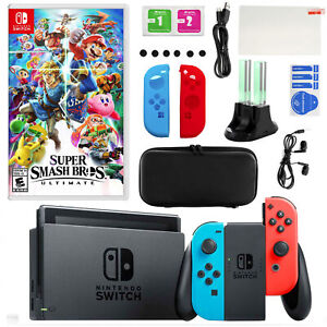 Nintendo 925115591M Switch in Neon with Super Smash Bros and Accessories Kit