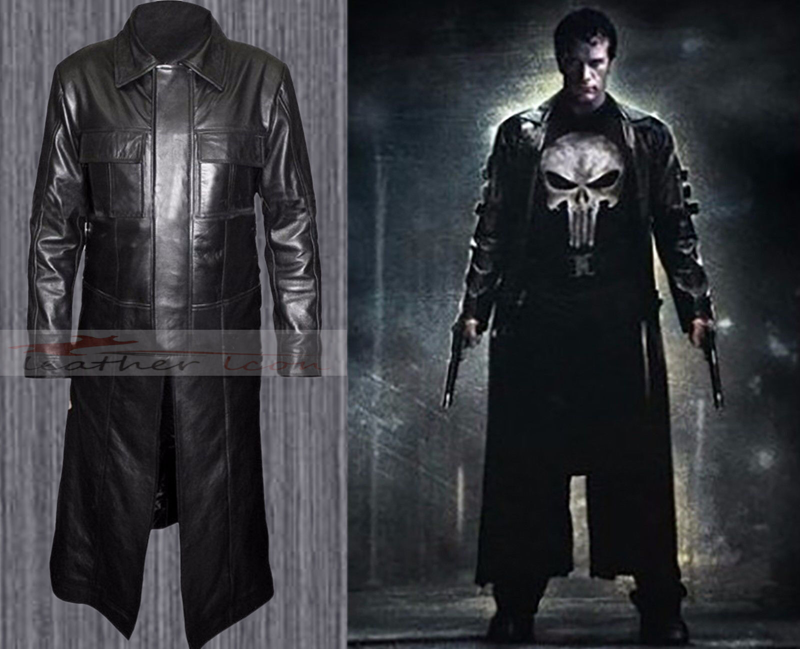 The Punisher Thomas Pelle Jane Frank Castle Trench Pelle Thomas Cappotto db8b48