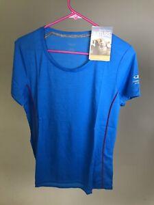 ICEBREAKER-Merino-Wool-Women-039-s-Aero-SS-Blue-LARGE-NEW