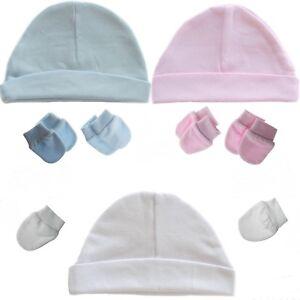 5aa0880ffdf44 PLAIN Baby Hat   2 Pairs Scratch Mittens 100% Cotton Newborn Boy ...