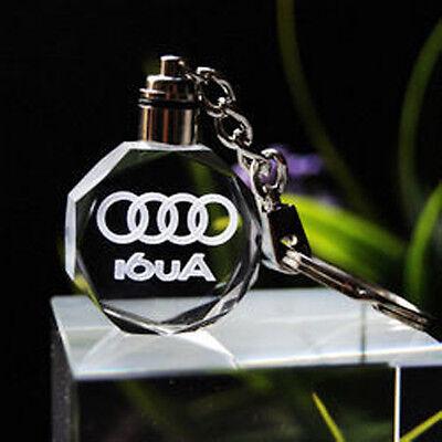 car logo keychain crystal light changing car key Chain keyring Keyfob for Audi