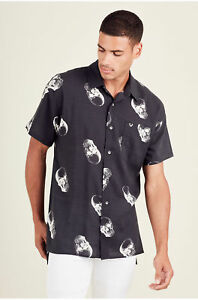 True-Religion-Men-039-s-Skull-Print-Relaxed-Fit-Button-Down-Shirt-in-Black