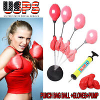Adult/youth Punching Bag Toy Set Adjustable Stand Boxing Glove Speed Ball W/pump