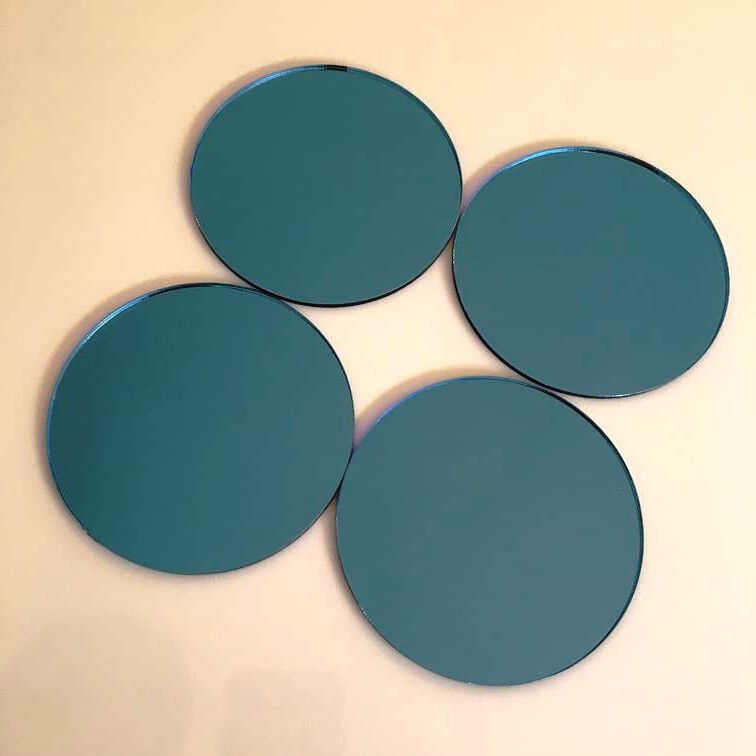 Kreis Acryl Wandfliesen - blau Spiegel