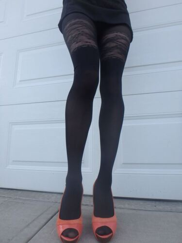 floral print sheer to waist tights LARGE Mirona by Fiore 40 den pantyhose