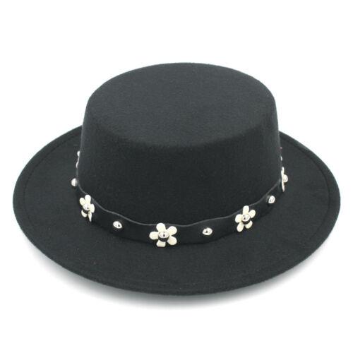 Women Wool Blend Boater Hat Wide Brim Pork Pie Cap Top Hats Flower Leather Band
