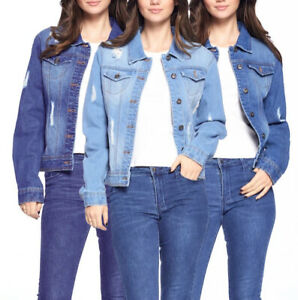 Women's Distressed Button Up Cotton Denim Casual Long Sleeve Jean Jacket