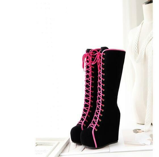 Goth Ladies UK High Platform Wedge Heels Faux Suede Lace Up Knee High Boots Size