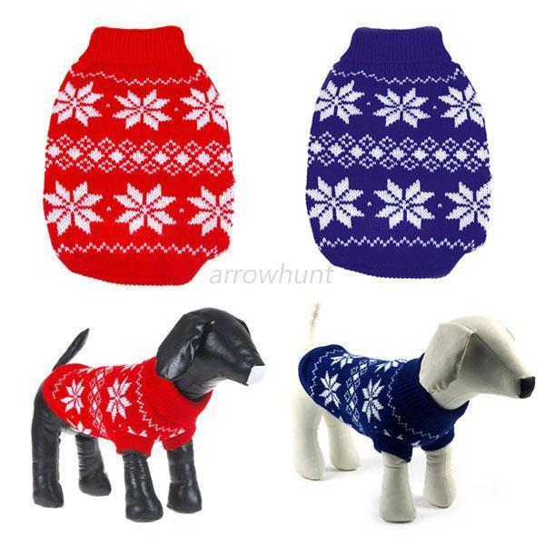 Fashion Dog Pet Snowflake Sweater Clothes Warm Knit Coat Apparel XS/S/M/L/XL/XXL